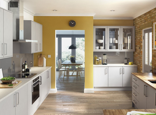 Premier Matt Light Grey Kitchen Restorations NE - Matt grey kitchen doors